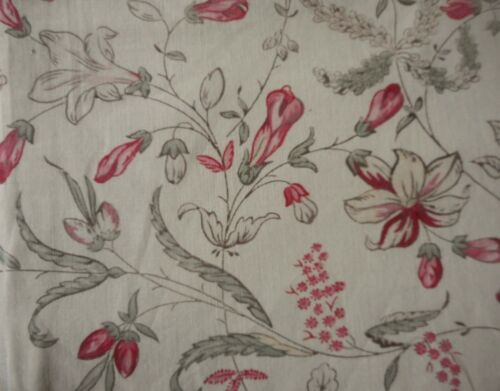 Antique French Botanical Floral Cotton Fabric ~  Softened Red Pink Sage