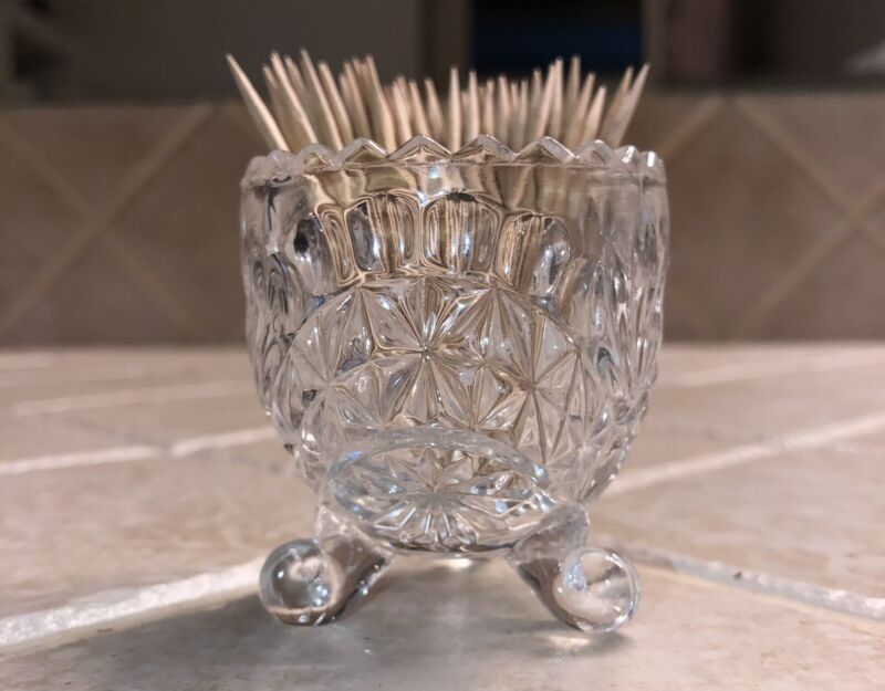 """Tooth Pick Holder Crystal Vase. 2 1/4"""" Tall Footed Pretty"""