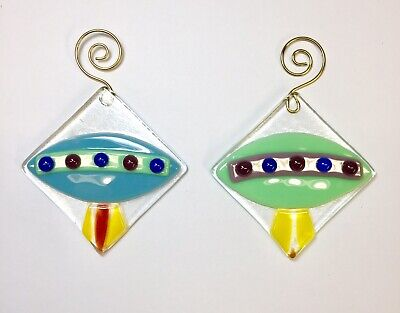 Flying saucer Fused Glass Sun Catcher Ornament Set Of 2