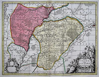 Schenk/Valk: Original altkol. Kupferstich Landkarte Altmark Prignitz; 1700