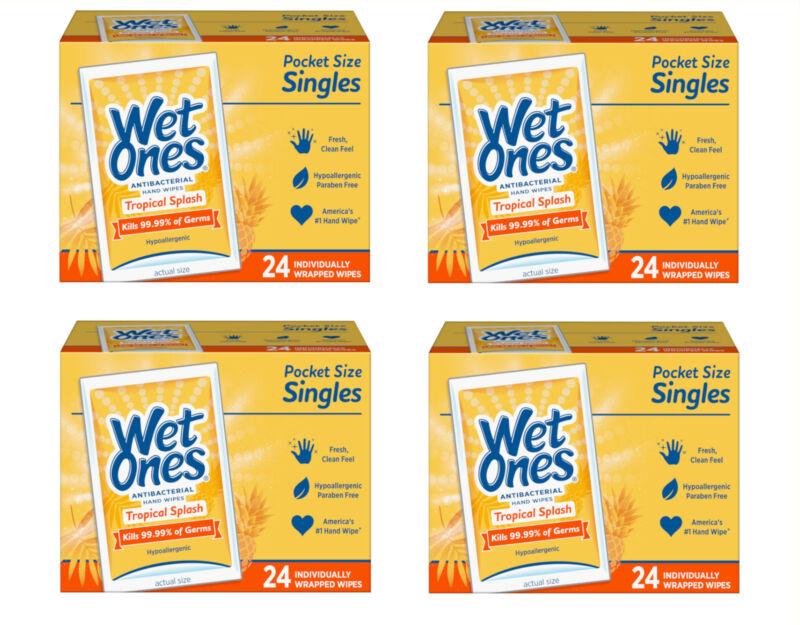 Wet Ones Hand Wipes Singles, Tropical Splash, 24 Ct - Pack of 4