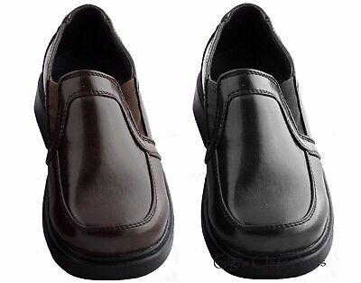 Kids Brown Apparel (Kids Youth Boys Black Brown Slip On Dress Shoes Formal Wedding Suit Church New )