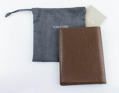 NWT TOM FORD Chocolate Brown 100% Pebbled Leather Bifold Card Holder Wallet $450