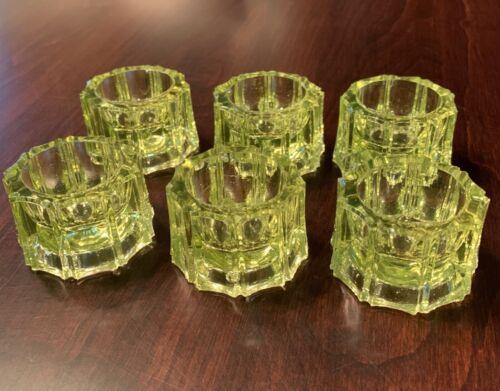 6 Antique Vaseline Glass Salt Cellars Dips