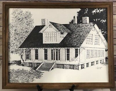 VTG Original Etching Colonial Home Veranda Porch Framed Signed Dated 16