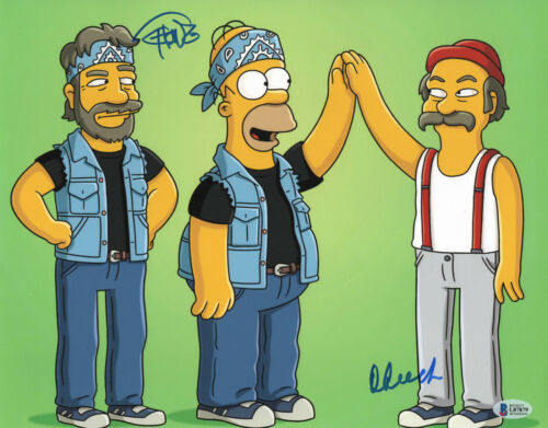 CHEECH AND CHONG SIGNED AUTO 11X14 PHOTO 'THE SIMPSONS' BAS BECKETT COA 406