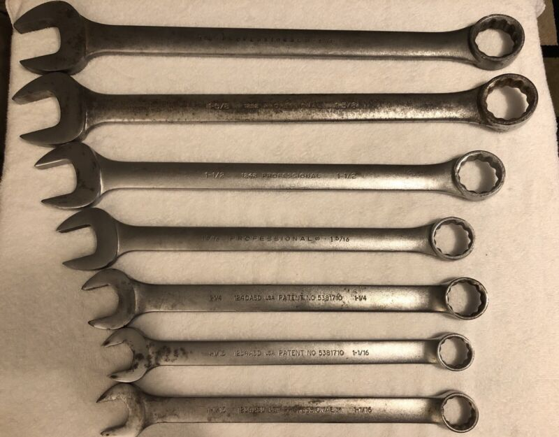 Lot of 7 Proto Combination Wrenches & Anti Slip