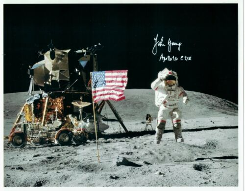 John Young Apollo 16 (signature + mission) Signed Lunar Surface Photo