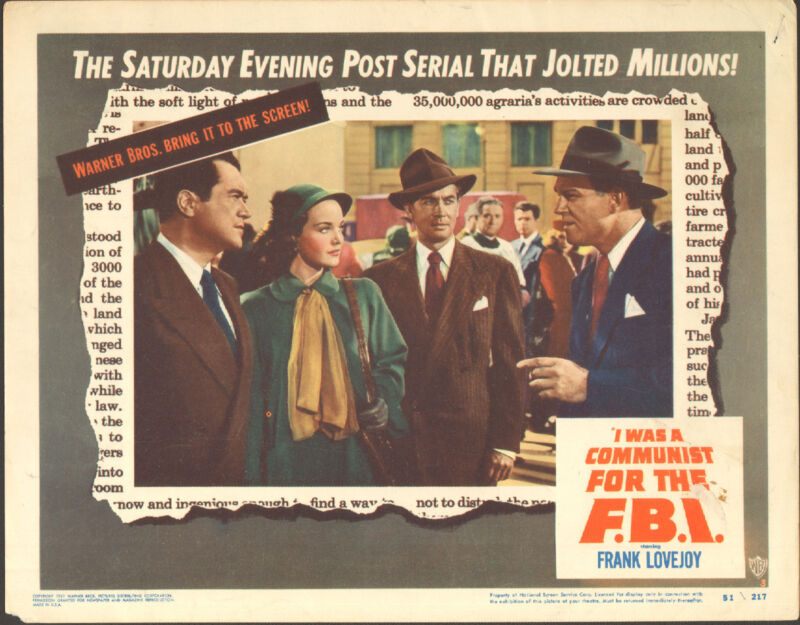 I WAS A COMMUNIST FOR THE F.B.I. orig 1951 lobby card movie poster DOROTHY HART
