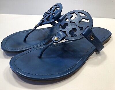 Tory Burch Miller Blue Smooth Leather Thong Sandals Sz 11 M