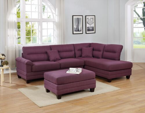 Reversible Chaise Sofa Ottoman 3pc Sectional Warm Purple Polyfiber Living Room