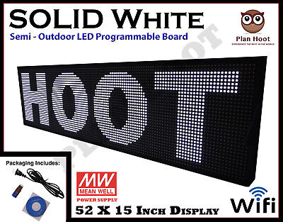 Led Sign 52x15 White Color Semi-outdoor Programmable Scrolling Usb Wifi App