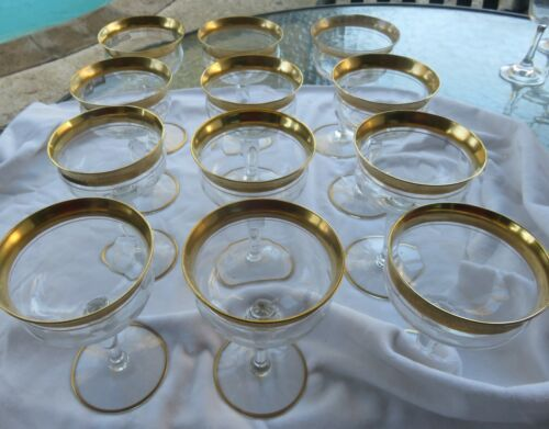 Tiffin Franciscan Ramblin Rose Gold Rim Crystal Martini Glasses Sets of 4