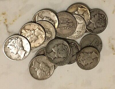 (1) 1916-1945 One 90% Silver Mercury Dime 10c Coin Average Good Collectible