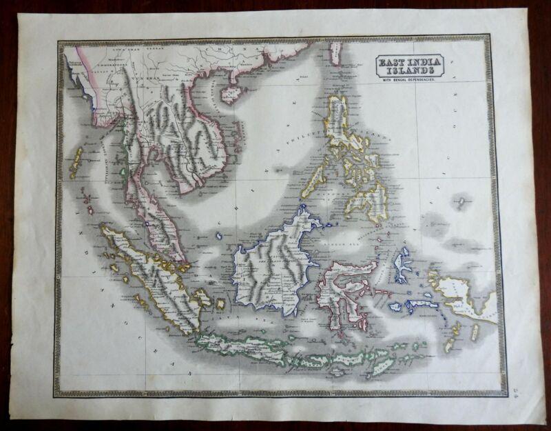 Southeast Asia Malaysia Borneo Celebes Java Sumatra 1846 scarce map