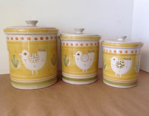 Rare VIETRI Canister Set Rustic Yellow Chickens & Cactus Italy