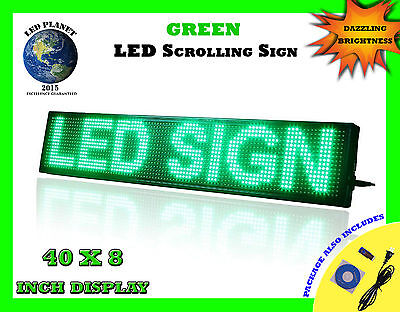 Green 40x8 Semi Outdoor Indoor Wifi App Led Scrolling Programmable Sign