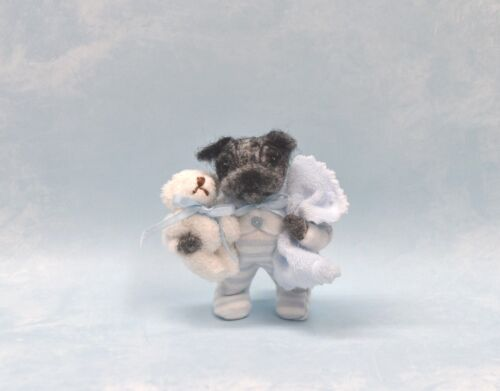 """Tiny Pocket """"Pug Puppy"""" With His Own Bed! Handmade - One Of A Kind"""