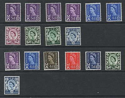 Scotland. 1958-1969. Set x 17 including phospher varieties. Fine MNH.