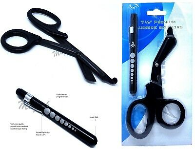 Black Reusable Aluminum Pocket Penlightfluoride Coated Trauma Paramedic Shears