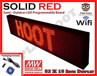 Led Sign 52x15 Red Color Semi-outdoor Programmable Scrolling Usb Wifi App
