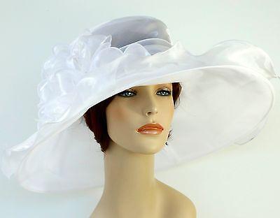 New Church Kentucky Derby Wedding Organza Wide Brim Dress Hat 3546 White