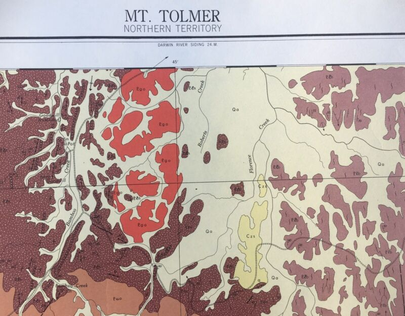 Vintage Australian Geological Map Mt Tolmer Northern Territory 1962 First Issue