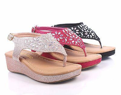 Thong Heel Schuh (Buckle Strap Glitter Blink Girls 1.5