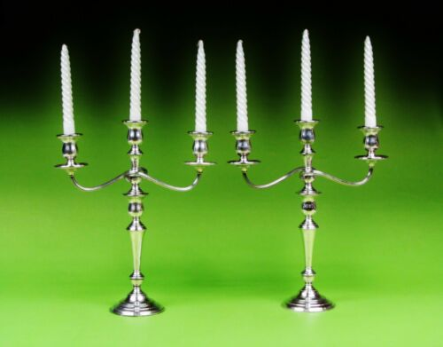 Pair Of 3 Light International Weighted Sterling Silver Candelabra/Candle Holder.