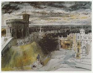 Windsor Castle, Berkshire, John Piper print in 10 x 12 inch mount ready to frame
