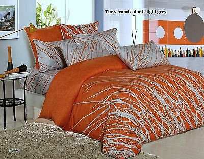 Orange Tree Cotton Bedding Set: Duvet Cover Set or Comforter or Both, Queen/King Cotton Comforter Duvet Set