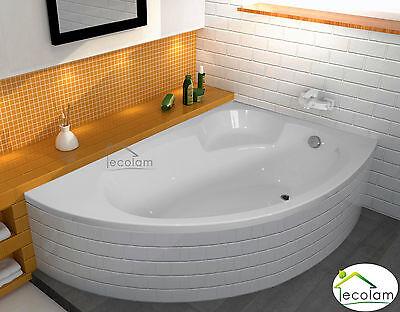 Badewanne Wanne Eckwanne Acryl Eck 170 x 100 Füße Ablauf Acryl ECOLAM rechts