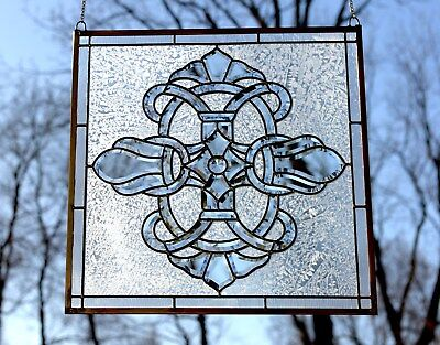 stunning Tiffany Style stained glass Clear Beveled window panel, 24