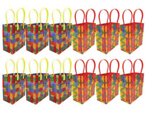 Building Blocks Brick Party Favor Bags Treat Bags, 12 Pack