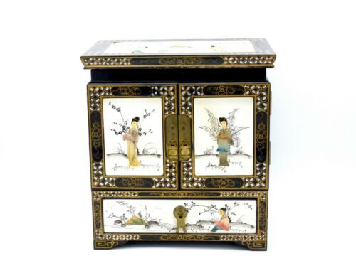 Vintage Chinese Large Wooden Porcelain Inlay Jewelry Box