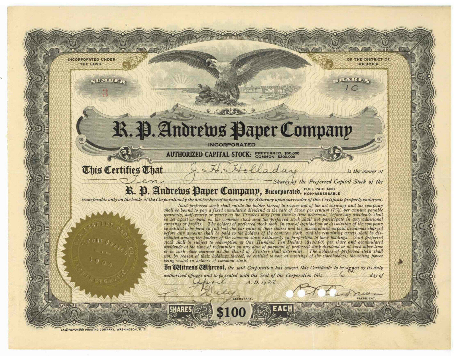 R. P. Andrews Paper Company. Stock Certificate. District of Columbia. 1928