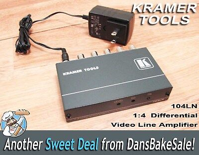 Kramer 104LN 1:4 Composite Video Differential Line Amplifier with Power Supply  Composite Video Line Amplifier