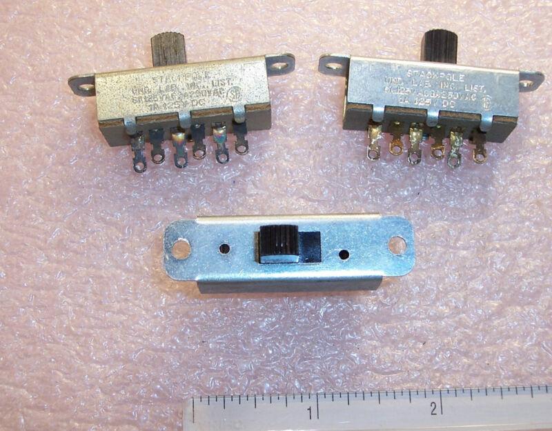 QTY (3)  STACKPOLE 53A009 SLIDE SWITCH (6A 125Vac) (3A 250Vac) (1A 125Vdc)