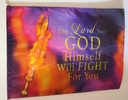 The Lord will fight for you Praise & Worship Dance Flag 100% SIlk