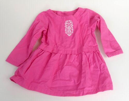 Carter's Girl's Pink Long Sleeve Dress with Floral symbol 9 month (A)