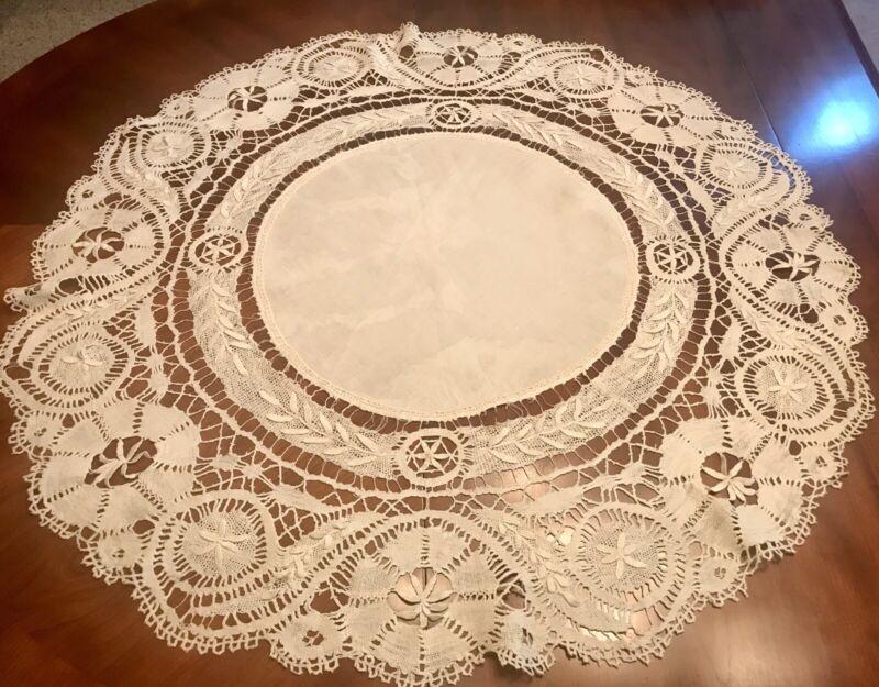 "Antique Edwardian Era French Cluny Bobbin Lace Table Round -31.5""—Ecru—VGC"