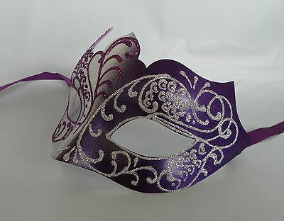 Express Maske (Purple & Silver Venetian Masquerade Party Mask * NEW * Express Post Option )