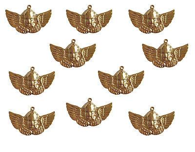 10 pcs Gold Brass Metal Cherub Angel Craft Jewelry Findings Charms Pendants VTG - Metal Charms Cherub
