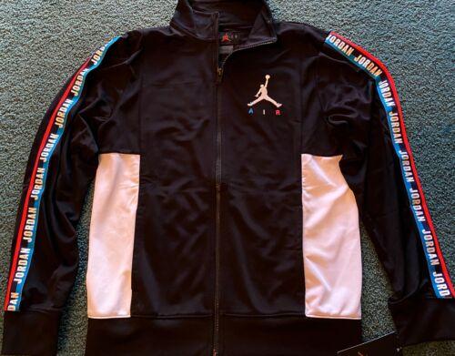 NWT Nike Air Jordan Boys YXL Black/White Embroidered Track Suit Jacket XL $60