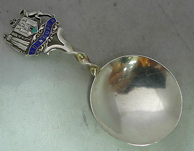 Art Deco Silver & Enamelled Caddy Spoon Edinburgh 1929