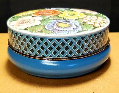 Vintage~RILEY'S TOFFEE~Tin~Round~Embossed Lid w/ Flowers~Halifax, England