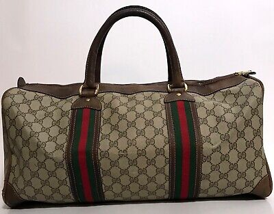 Authentic GUCCI VINTAGE 70s BROWN MONOGRAM GG CARRY-ON DUFFLE GYM BAG LUGGAGE