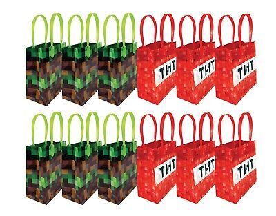 Pixel Miner Themed Party Favor Bags Treat Bags, 12 - Mine Craft Party Supplies