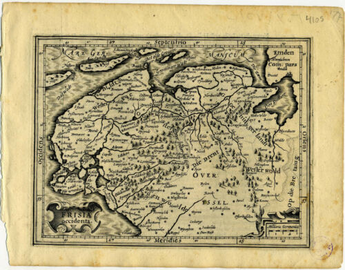 1607 Genuine Antique map Germany, North Sea. Wilhelmshaven. by Mercator/Hondius