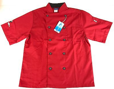New Kng Premium Quality Short Sleeve Active Chef Sushi Restaurant Coat Red Small
